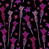 French Lavender-Love in Parise Seamless Repeat Pattern on Black Background . Light Pink and White Colors. vector illustration