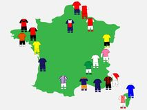 French League Clubs Map 2013-14 Royalty Free Stock Image