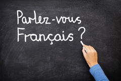 French Learning language. Learning language - French. Learning French language concept of teacher or student writing parlez-vous francais (do you speak French) Royalty Free Stock Photo