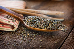 French lentils. In a wooden spoon Royalty Free Stock Image