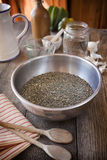 French lentils. In a stainless steel bowl Royalty Free Stock Photos