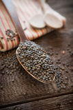 French lentils. In a wooden spoon Stock Photography