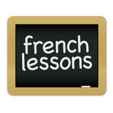 French Lessons Chalkboard EPS. An illustration of a small blackboard promoting French lessons Stock Image