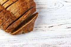 French loaf sliced, on a wooden board with space for text stock images