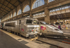 French locomotives parked in main Paris train station Stock Images