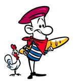 French long loaf chicken character cartoon Royalty Free Stock Photos