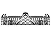 French Louvre Museum in black-and-white color Stock Images