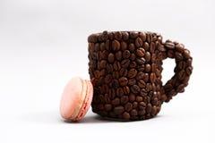 French Macaron And A Coffee Benas Mug Royalty Free Stock Images