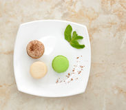 French macaron cookie with mint and cocoa powder Stock Photo