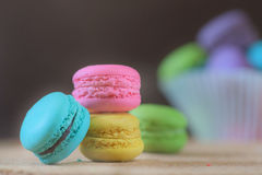 French Macaron, large variety of colors Royalty Free Stock Photos