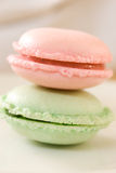 French macarons. Picture of two french macarons in white backgrund Stock Image