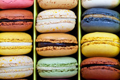 French macarons. Colorful delicious macarons, typical french pastries Royalty Free Stock Photo