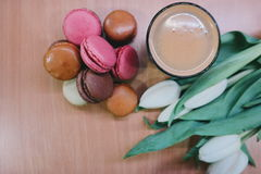 French Macarons on Brown Wooden Table Royalty Free Stock Image