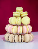 French macarons on cake stand Royalty Free Stock Photography