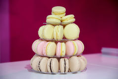 French macarons on cake stand Royalty Free Stock Images