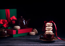 French macarons and coffee on Christmas Royalty Free Stock Photo