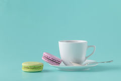 French macarons and coffee cup Stock Images