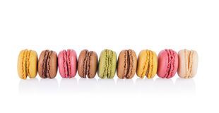 French Macarons. Colorful and tasty French Macarons on white background Stock Photography