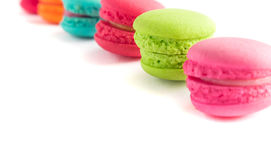 French macarons colorful on white background Royalty Free Stock Image