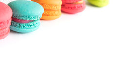 French macarons colorful on white background Stock Image