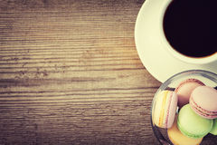 French macarons and a cup of coffe Stock Images