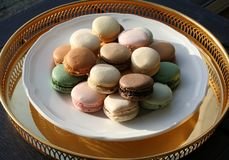 French Macarons in different colors royalty free stock photography