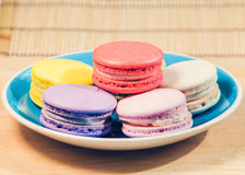 French macarons on dish Royalty Free Stock Images