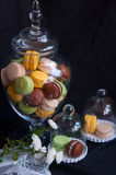 French macarons in glass bowls Royalty Free Stock Photos