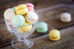 French macarons, mix colors. In a glass bowl Royalty Free Stock Photos