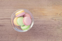 French Macarons on  old wooden bac Royalty Free Stock Images