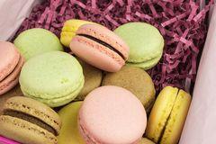 French macarons in pastel colors. French sweet macarons  in pink, yellow, green and brown on purple paper shreds Royalty Free Stock Photography