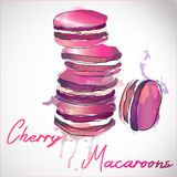 5 french macarons at pink paint splash background. Watercolor  illustration of light pastries. Royalty Free Stock Images