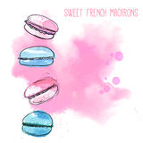 4 french macarons at pink paint splash background. Watercolor vector illustration of light pastries. Stock Photo