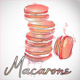 5 french macarons at pink paint splash background. Watercolor vector illustration of light pastries. Stock Images