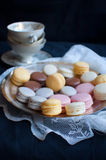 French macarons on plate Royalty Free Stock Image