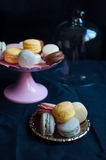 French macarons on plate Stock Photography