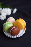 French macarons on plate Royalty Free Stock Images