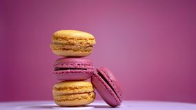 French macarons, sweet cookie spinning close-up.  stock video footage