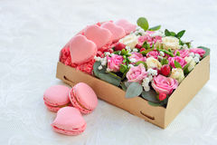 French macaroon heart-shaped Valentine`s Day Stock Photo