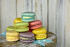 French macaroon on ribbon Stock Image