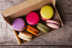 French macaroons in cardboard box Royalty Free Stock Photo