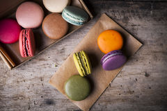 French macaroons in cardboard box Royalty Free Stock Image