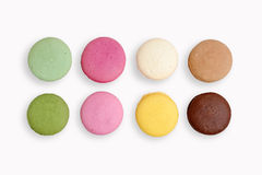 French Macaroons Cookies On White Isolated Background Royalty Free Stock Photos