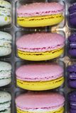 French macaroons dessert range lilac yellow with plastic case. Sweet macaroons cookies for tea. Two-colored macaroon with cream in. The middle. Appetizing royalty free stock photography