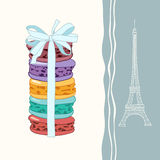 French macaroons and Eiffel Tower Stock Photography