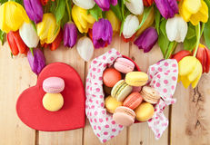 French macaroons in heartshaped box Royalty Free Stock Photo