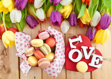 French macaroons in heartshaped box Stock Photography