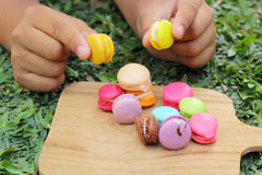 French macaroons multi colorful is delicious.  Royalty Free Stock Images