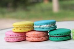 French macaroons multi colorful is delicious.  Stock Images