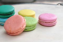 French macaroons multi colorful is delicious Royalty Free Stock Image